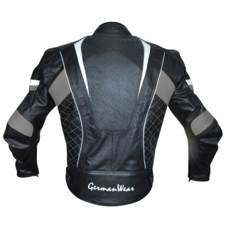 Motorradjacke Lederjacke Chopperjacke Cruiser jacke Schwarz/Grau - Vorschau 3