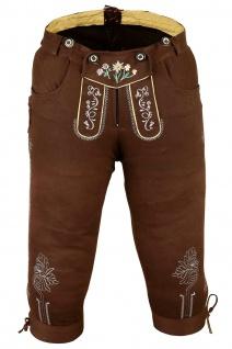 German Wear, Damen Trachten Kniebundhose Jeans Hose kostüme mit Hosenträgern Braun