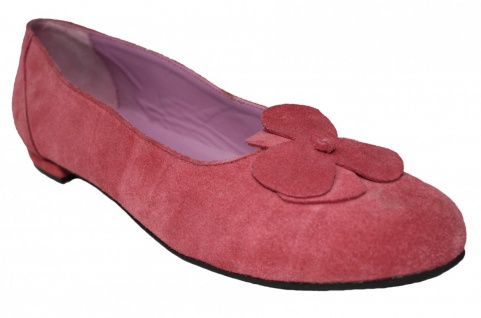 German Wear, Damen Trachtenschuhe Ballerina Veloursleder Trachten Schuhe Blüte rosa