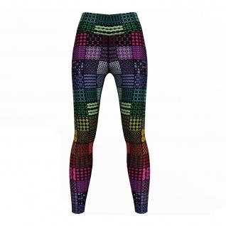 Regenbogen Quadrate Leggings sehr dehnbar Sport Yoga Gymnastik Training Tanzen Freizeit