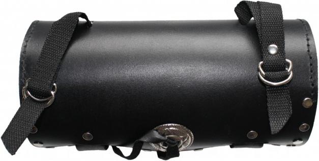 Motorrad Werkzeugtasche Satteltasche Motorradtasche Toolbox echtleder schwarz - Vorschau 2