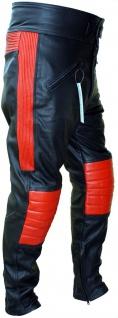 German Wear, Motorradhose Lederhose motoradlederhose Rindsleder SignalRot/Schwarz