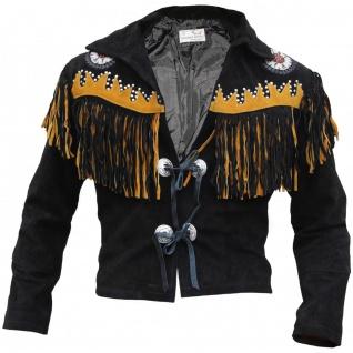 German Wear, Westernjacke Reiter Jacke Western-Lederjacke Indianer Tracht Schwarz