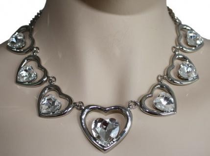 Trachtenkette Herzanhänger Glassteine Metall transparent weiß