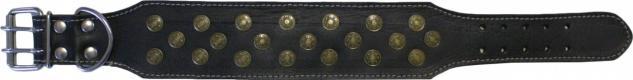Hundehalsband aus echtem Leder 45-54cm in schwarz