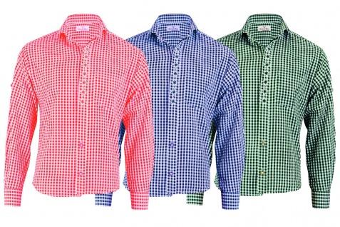 GermanWear, Trachtenhemd Karo mit Edelweiß-Stickerei aus Baumwolle