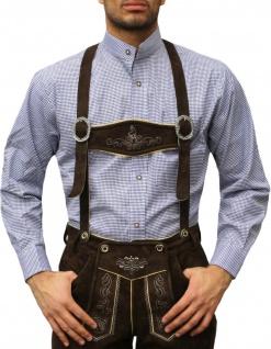 Trachtenhemd mit Stehkragen für Trachtenlederhosen Dunkelblau/kariert