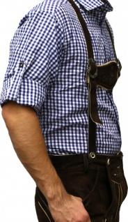 Trachtenhemd für Trachtenlederhosen Oktoberfest Trachtenmode Blau/karo 100% Baumwolle - Vorschau 3