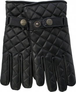 German Wear, Herren Lederhandschuhe Lammnappa Handschuhe echtleder Steppmuster schwarz