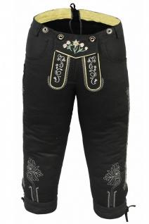 German Wear, Damen Trachten Kniebundhose Jeans Hose kostüme mit Hosenträgern Schwarz