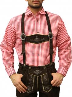 Trachtenhemd für Trachtenlederhosen Oktoberfest Trachtenmode rot/kariert 100% Baumwolle - Vorschau 1