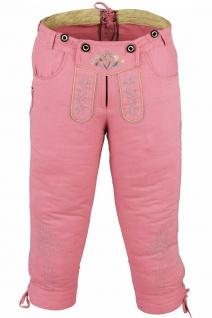 German Wear, Damen Trachten Kniebundhose Jeans Hose kostüme mit Hosenträgern rosa