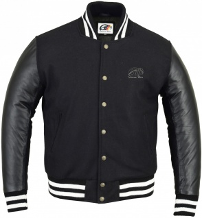 German Wear, Collegejacke Blouson Wolljacke varsity College Jacke Lederärmel Retro schwarz