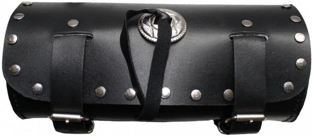 Motorrad Werkzeugtasche Satteltasche Motorradtasche Toolbox echtleder schwarz - Vorschau 1