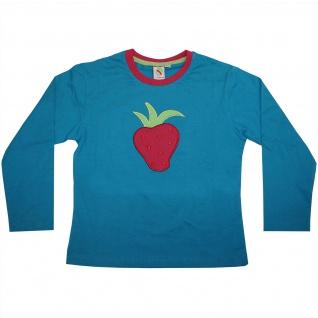 Langarmshirt Rundhals Shirt Baumwolle Langarm Erdbeere