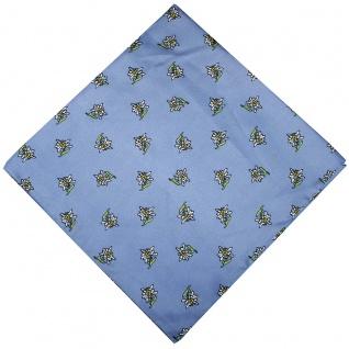 German Wear, Halstuch Trachtentuch mit Edelweissmuster nikituch 60x60cm hellblau
