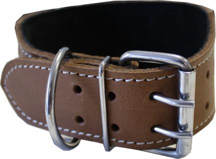 Hundehalsband aus echtem Leder 45-54cm in braun - Vorschau 3