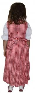 Mädchen Kinder Dirndl Mädchendirndl Kleid Rot/Weiß kariert - Vorschau 2
