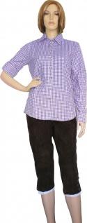 Trachtenbluse Damen Trachten lederhosen-bluse Trachtenmode lila kariert - Vorschau 2
