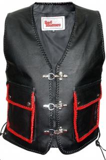 German Wear, Leder Motorrad Kutte Karabiner Lederweste Bikerweste Motorradweste schwarz/rot