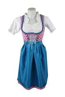 1-teiliges Midi-Dirndl Landhaus Kleid ohne Bluse Dirndel Pink kariert