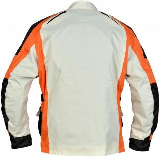 Motorradjacke Bikerjacke aus Textilien Kombigeeignet, Creme/Schwarz/Orange - Vorschau 2