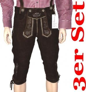 3er Trachten-SET Kniebundhose aus Ziegenleder, Trachtenhemd & Hosenträger