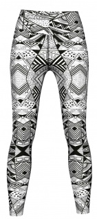 Geometery Leggings sehr dehnbar für Sport, Yoga, Gymnastik, Training & Fashion Grau