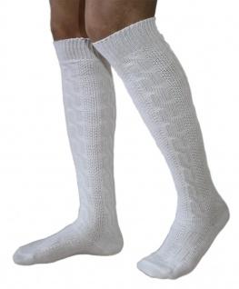 Traditionelle Bayrische Trachtensocken Lange Trachten Socken Strümpfe 70cm Weiß - Vorschau 2