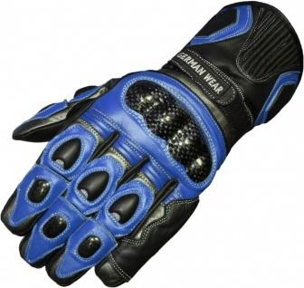 German Wear, Motorradhandschuhe Motorrad Biker Lederhandschuhe Schwarz/Blau