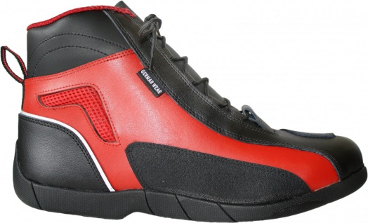 German Wear, Biker Motorradstiefel Motorrad Touring Stiefel stiefletten schwarz/rot 17cm