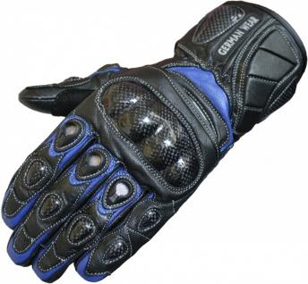 German Wear, Motorradhandschuhe Motorrad Biker Lederhandschuhe Blau/Schwarz