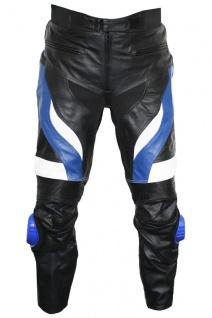 German Wear, Motorradhose Motorrad Biker Racing Lederhose Blau/Weiß/Schwarz