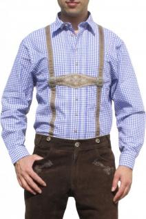 German Wear, Trachtenhemd für Lederhosen mit Hosenträger-Imitat blau/kariert