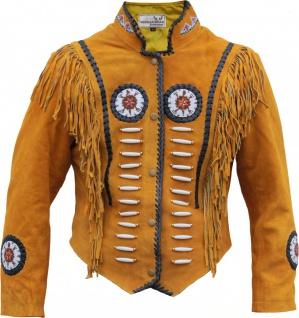 German Wear, Western-Lederjacke Indianer Tracht Westernjacke Reiter Jacke Ocker