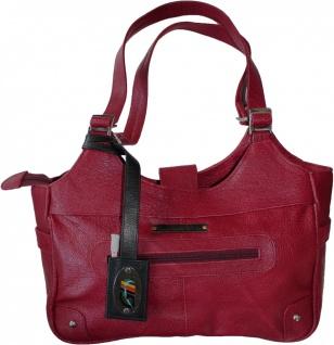 German Wear, Damen Lederhandtasche Ledertasche Shopper Handtasche Tasche Tragetasche rot