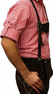 Trachtenhemd für Trachtenlederhosen Oktoberfest Trachtenmode rot/kariert 100% Baumwolle - Vorschau 3