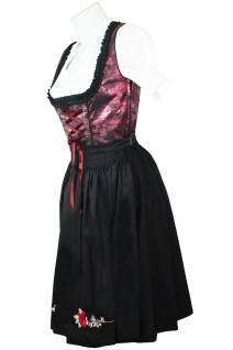1-teiliges Midi-Dirndl Landhaus Kleid Dirndel ohne Bluse schwarz/weinrot - Vorschau 3
