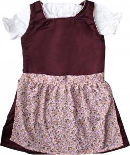 3-tlg Kinder Dirndl Mädchendirndl Dirndlbluse Dirndlschürze Kleid Bordeaux