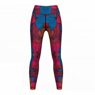 GermanWear, Endlos Blumen Leggings sehr dehnbar Fitness Sport Yoga Gymnastik Training Tanzen Freizeit