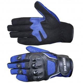 Motocross Motorradhandschuhe Biker Handschuhe Textilhandschuhe Blau - Vorschau 4