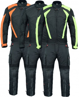 Motorradkombi Textilien motorradjacke + Motorradhose Schwarz, Grün & Orange inkl. alle Protektoren