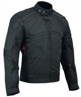 Motorradjacke Cordura Textilien kurze Jacke Schwarz - Vorschau 2