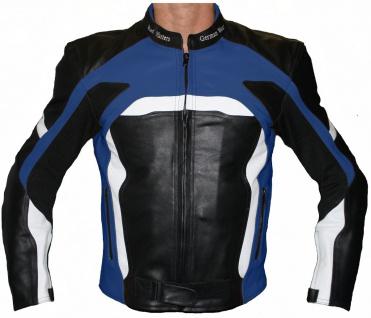 GermanWear Motorradjacke Lederjacke Biker lederjacke Rindsleder Schwarz/Blau