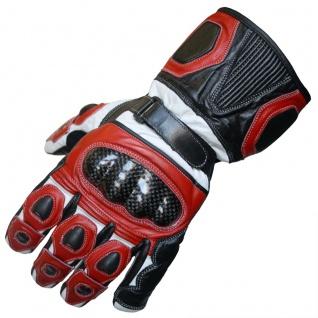 German Wear, Motorradhandschuhe Motorrad Biker Lederhandschuhe rot/weiß