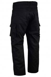 GermanWear® Motorradhose Motorradjeans, Futter aus Kevlar® stoff Cargohose mit Protektoren schwarz - Vorschau 2
