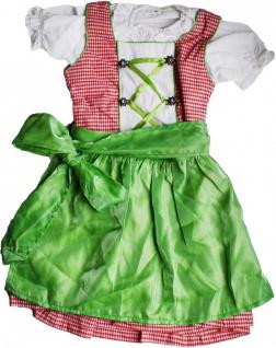 3-tlg Kinder Dirndl Mädchendirndl Dirndlbluse Dirndlschürze Kleid Rot/Grün Kariert