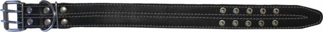 Hundehalsband aus echtem Leder 41-52cm in schwarz