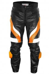 German Wear, Motorradhose Motorrad Biker Racing Lederhose Schwarz/Orange