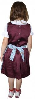 3-tlg Kinder Dirndl Mädchendirndl Dirndlbluse Dirndlschürze Kleid Bordeaux/Blau - Vorschau 2